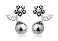 Stylish & Elegant Silver Base White Crystals & Black Pearl Earrings Studs E200