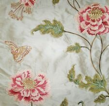 COLEFAX & FOWLER ORIENTAL POPPY EMBROIDERED SILK  FABRIC 10 YARDS PINK GREEN