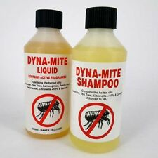 DYNA MITE DOG FLEA SHAMPOO & MITE REPELLENT RINSE HORSE CAT ANIMAL 250ML DUO
