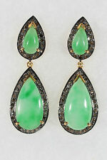 Designer Jade and Diamond 14kt Yellow Gold over Sterling Silver Earrings
