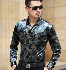 Men Silk Velevt Flower Long Sleeve Shirts Business Slim Dress Floral Top Dress s