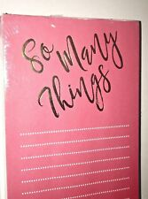"""New Pink Lined Pad of Paper """"So Many Things"""" in Gold 17 White Lines"""