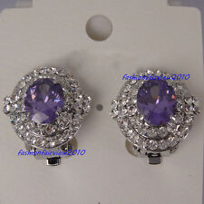 New White Gold GP Purple Crystal Amethyst Clip-on Unpierced Earrings XE016B