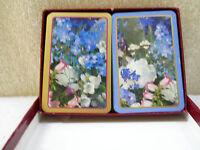Vintage GASPARI Playing Cards  Dbl Deck Larkspur Peonies Canterbuy Bells Belgium