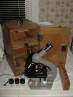 Vintage Olympus Microscope Wooden Case - Unknown Model - Light Works - As Is