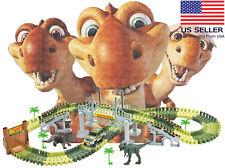 Dinosaur World Flexible Race Track DIY Racing Game Playset Light Up Car Toy Kids