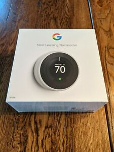 Google Nest 3rd Gen Learning White Programmable Thermostat Brand New In Box