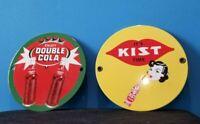 """VINTAGE DOUBLE COLA & KIST 6"""" PORCELAIN SODA BEVERAGE BOTTLES SERVICE PUMP SIGN"""