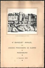 Menu. Banquet annuel  prisonniers de Guerre. Regensburg. 1933