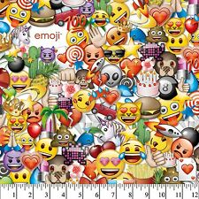 "Classic Colorful Emoji Emotional Party  43"" wide 100% Cotton Fabric by the Yard"