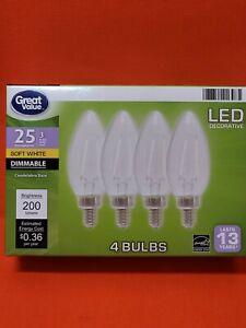 4 PACK LED 25W = 3W Candelabra Soft White Dimmable 25 Watt Equivalent 2700K bulb