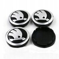 4 x 56mm Silber Schwarz Alufelgen Nabendeckel Felgendeckel Wheel Cap für SKODA