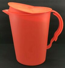 Tupperware Impressions Slimline Pitcher 2 Qt. Rocker Top Dark Orange #3333 New