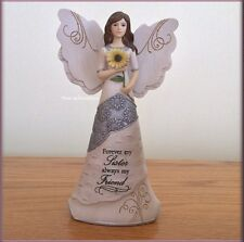 SISTER ANGEL FIGURINE WITH SUNFLOWER BY PAVILION ELEMENTS 6.5 IN FREE U.S. SHIP
