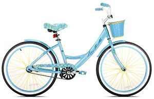 "Girl's La Jolla Beach Cruiser Bike 24"" Perfect Fit Frame Single Speed, Maya Blue"