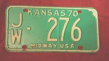1970 Jewell County KANSAS License Plate JW-276 Plates Midway USA NR KS
