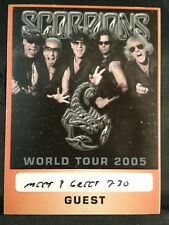 Scorpions 2005 World Tour Backstage Guest Pass