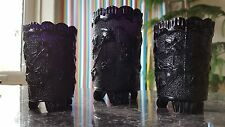 Trio Victorian Black Milk Glass Small Vases / Tooth Pick Holders
