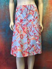 Gianni Bini Womans 'DANIELA' Skirt Blue Rose Coral Cream Floral Gored Pleat Sz 6