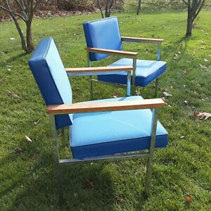 Mid Century Modern Metal Blue Upholstered  Lounge Chair by Steelcase