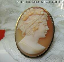 Vintage 10K YELLOW GOLD CAMEO Estate PENDANT BROOCH / BROACH with folding bale