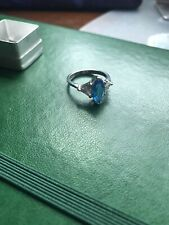 Silver Blue Synthetic Ring Sz 7