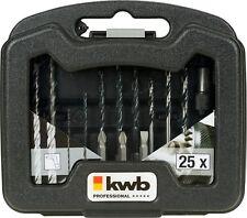 Bit und Bohrer Satz 25 tlg. Stein Metall Holz Bohrer Bithalter Bits KWB 109025