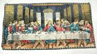 """Vintage Last Supper Tapestry Wall Hanging 37"""" x 20"""" Jesus & Disciples Christian"""
