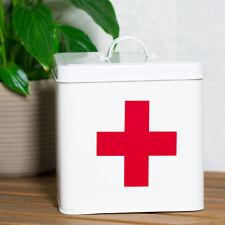 Retro White Enamel EMPTY 1st First Aid Tin Kit Storage Box Medicine Container