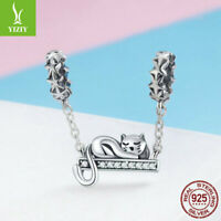 Women Girl 925 Sterling Silver Cute Cat Charm Safety chain Fit Bracelet Necklace