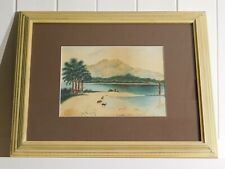 Antique 1907 Watercolor on Paper, Silver Strand Loch, Signed MH