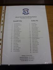22/07/2009 Colour Teamsheet: Cardiff City v Celtic  . Thanks for viewing our ite