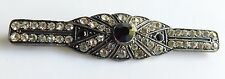Antique Victorian Edwardian Faceted Rhinestone Silver Pin Brooch Tube Closure