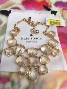 STUNNING Kate Spade Vegas Jewels FACETED Cluster Clear Crystals Bib Necklace