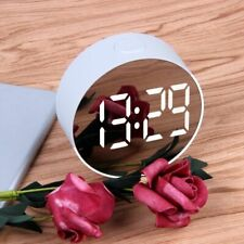 Round LED Mirror Digital Alarm Clock Desk Table Display Home Office