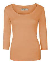 Womens Plain Tops Ladies 3/4 Sleeve Scoop Neck Stretch Cotton Top T-Shirts