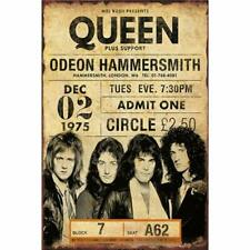 "1975 Queen Concert Hammersmith London Retro Classic Rock Metal Tin Sign 8"" x 12"""