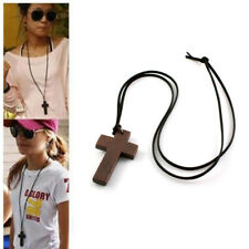 Fashion Decor Wooden Cross Pendant Chain Religious Sweater Necklace Xmas Gifts