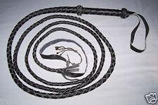12 ft  4 Plait Black Real Leather BULLWHIP INDIANA JONES Style ZORRO  BULL WHIP