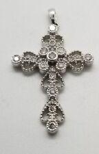 10 K White Gold Cross with Diamonds