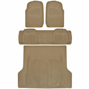 All Weather Car Rubber Floor Mats Max Duty Auto Protection Beige Heavy Duty