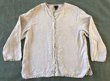 EILEEN FISHER Tan Linen Button Up Top Blouse Medium M (I6)