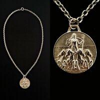 Vintage 1920s Mermaid Goddess Riding Horses Necklace Beautiful!