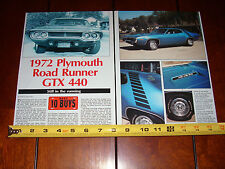 1972 PLYMOUTH ROAD RUNNER GTX 440 - ORIGINAL 1991 ARTICLE