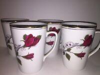 "Set Of 4 Beautiful Wawel Rose & Gold  Trimmed 4.25"" Tall Coffee  / Tea Cups"