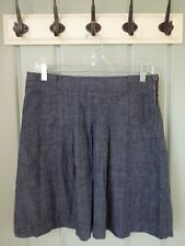 J CREW Womens Size 4 Small Blue Chambray Pleated Fitted Skirt 100% Cotton