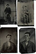 FOUR Antique Tintypes, Young Guns, Handsome Men, Cowboys