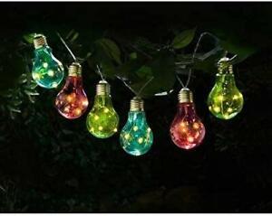 Set of 10 Solar Powered LED Garden Light Bulb Multi-Colour Outdoor Lighting
