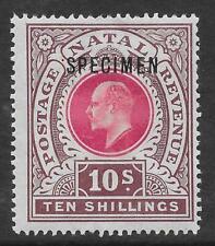 Natal 1902 10/- Deep Rose & Chocolate with Specimen Overprint SG 141s