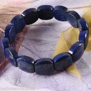 "Natural Lapis Lazuli Beads 13x18mm Gemstone Bracelet Bangle 7"""